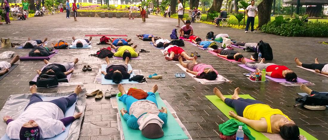 Fin de séance de Yoga Sivananda en plein air avec Savasana