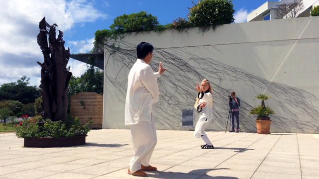 Démonstration de Bagua avec Maître Zhang Kunlin lors de la journée nationale de Qi Gong, mai 2016