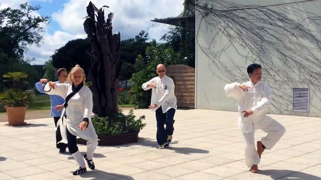 Démonstration avec Maître Zhang Kunlin et les pratiquants de Terre d'Asie lors de la journée nationale de Qi Gong, mai 2016